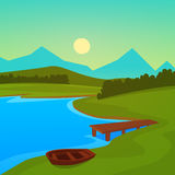 Lake Dock. Summer landscape on the lake with dock Royalty Free Stock Image