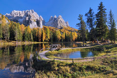 Lake in the Dolomite Alps Stock Images