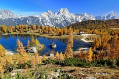 Lake in the Dolomite Alps. In South-Tyrol near Cortina d'Ampezzo on a beautiful autumn day Royalty Free Stock Photo