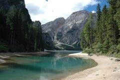 Lake on the dolomites. Lake braies Royalty Free Stock Photos