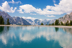 Lake in the Dolomites. Tourquise lake in the Dolomites near to Cortina, Italy Royalty Free Stock Photography