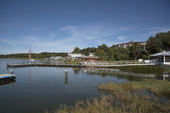 Lake Dora Florida USA. October 2106 - Landing stage for boats on the waterfront of Lake Dora Stock Photo