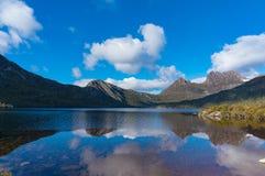 Lake Dove and Cradle mountain panorama landscape. On sunny day. Beautiful nature background. Cradle mountain national park, Tasmania, Australia stock images