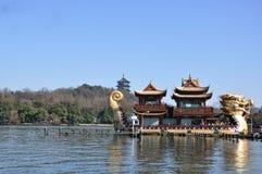 Lake and dragon boat. Hangzhou, Zhejiang, China,Snow after West Lake Royalty Free Stock Photo