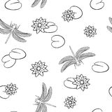 Lake dragonfly insect seamless pattern graphic art black white illustration Royalty Free Stock Photo