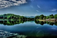 Lake with dramatic sky Stock Photo