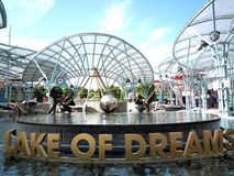 Lake of Dreams at resort world Sentosa. In front of  Universal Singapore on the sunny day Stock Photos