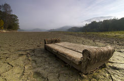 A lake  dries up during a drought. Stock Photo