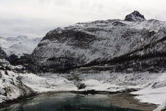 Lake Du Chevril, Tignes 1800, Winter ski resort of Tignes-Val d Isere, France Royalty Free Stock Image