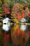 Lake Dunmore in the Fall. A scenic view of Lake Dunmore, Vermont in the Fall. Colorful reflections can be seen in the water royalty free stock photos