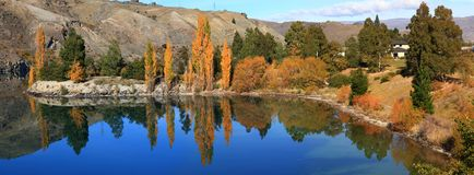Lake dunstan reflection New Zealand Stock Photography