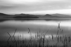 A lake at dusk, with beautiful, soft tones in the sky and water. Reflections, distant mountains and hills, branches in the foreground Royalty Free Stock Photo