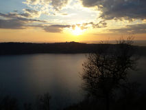 Lake at dusk. Castel Gandolfo lake at dusk, Italy Royalty Free Stock Photography