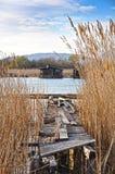 Lake dwellings - Life on the river. Lake dwellings ,blue sky on the background- Life on the river Stock Images