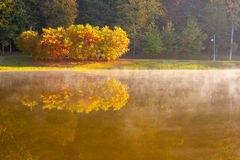 Lake in the early autumn morning. In Kiev Stock Photography