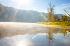 Lake in the early autumn morning. In Kiev Stock Images