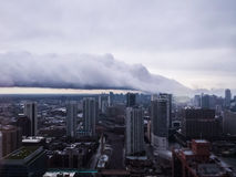 Lake Effect storm cloud diving into City of Chicago Stock Photo