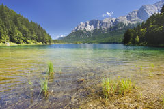 Lake Eibsee nearby city Garmisch Royalty Free Stock Images