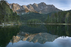 Lake Eibsee with Zugspitze in Bavaria Stock Images