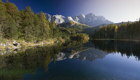 Lake Eibsee with Zugspitze in Bavaria Royalty Free Stock Photos
