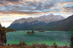 Lake eibsee and zugspitze, bavarian landscape Royalty Free Stock Photos