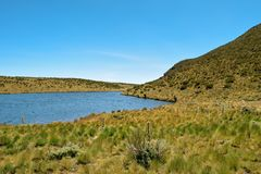 Lake against a mountain background, Mount Kenya royalty free stock photography