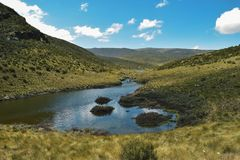 Lake against a mountain background, Mount Kenya stock photography
