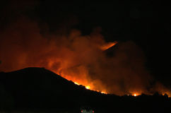 Lake Elsinore Fire, Ortega Mountains. Fire in the Ortega Mountains in Lake Elsinore, November 12th 2006. Called the Lookout fire - A 290-acre blaze in Lake Royalty Free Stock Photos