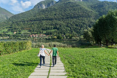 LAKE ENDINE, LOMBARDY/ ITALY - SEPTEMBER 19: Couple on a walk ar Stock Photo