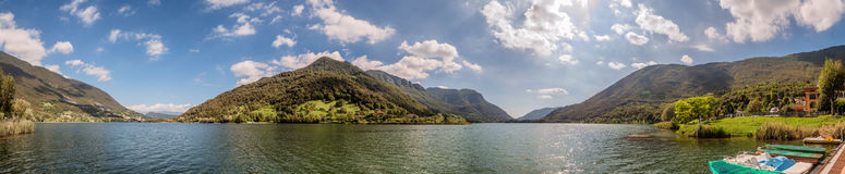 Lake Endine in northern Italy, panorama Stock Photos