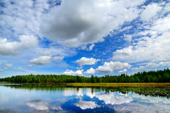 Lake Engozero and dramatic clouds. North Karelia, Russia Stock Photography