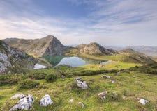 Lake Enol. Enol views of Lake in the National Park Picos de Europa, Asturias, Spain Stock Photo