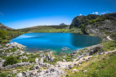 Lake Enol and mountain retreat, the famous lakes of Covadonga, A Stock Images