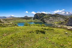 Lake Enol and mountain retreat, the famous lakes of Covadonga, A Stock Photography