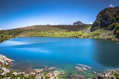 Lake Enol and mountain retreat, the famous lakes of Covadonga, A Royalty Free Stock Images