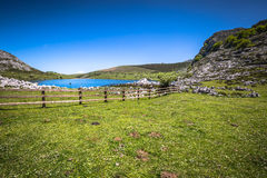 Lake Enol and mountain retreat, the famous lakes of Covadonga, A Royalty Free Stock Image