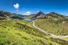 Lake Enol and mountain retreat, the famous lakes of Covadonga, A Royalty Free Stock Photography