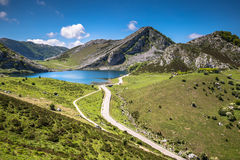 Lake Enol and mountain retreat, the famous lakes of Covadonga, A Stock Photos