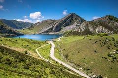 Lake Enol and mountain retreat, the famous lakes of Covadonga, A Stock Photos