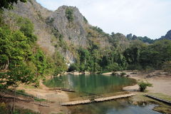 The lake at the entrance of Tham Kong Lo cave Royalty Free Stock Photos