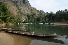The lake at the entrance of Tham Kong Lo cave Royalty Free Stock Photo