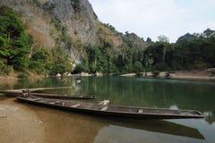 The lake at the entrance of Tham Kong Lo cave Royalty Free Stock Photo