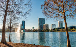 Lake Eola and buildings in Orlando royalty free stock photography