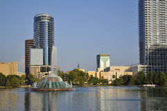Lake Eola Fountain. Shot of Lake Eola fountain and Buildings in Downtown Orlando, Florida Stock Photos