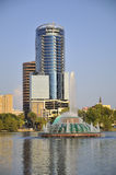 Lake Eola Fountain. Shot of Lake Eola fountain and Buildings in Downtown Orlando, Florida Royalty Free Stock Images