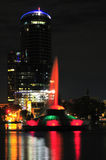 Lake Eola Fountain. Night shot of the Fountain in Lake Eola in Downtown Orlando, Florida Stock Image