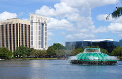 Lake Eola, High-rise buildings, skyline, and fountain. In Downtown Orlando, Florida, United States, April 27, 2017 Stock Photo