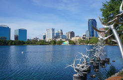 Lake Eola, High-rise buildings, skyline, and fountain Downtown Orlando, Florida, United States, April 27, 2017. High-rise buildings, skyline and fountain at royalty free stock photography