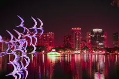 Lake Eola by night, Orlando Florida Royalty Free Stock Photos