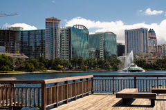 Lake Eola and Orlando skyline. With fountain Stock Photography